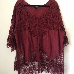 Lane Bryant Embroidered Lace Top SZ 26
